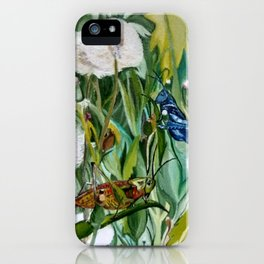 Grasshoppers and Dandelions (Oil Painting) iPhone Case