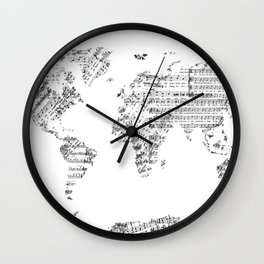 world map music vintage white Wall Clock