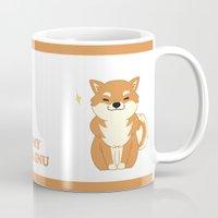 shiba inu Mugs featuring I love my Shiba Inu by Lynyster