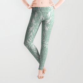 Nappy Faux Velvet Feathered Stripes in Green   Leggings