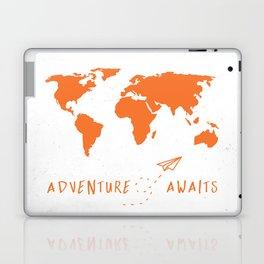 Adventure Map - Retro Orange on White Laptop & iPad Skin