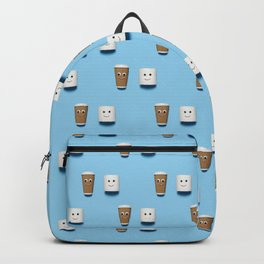 Happy toilet paper and coffee pattern on blue. Backpack