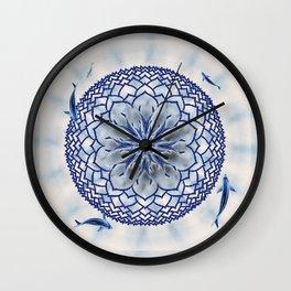 8 Koi Lotus Mandala in Blue Wall Clock