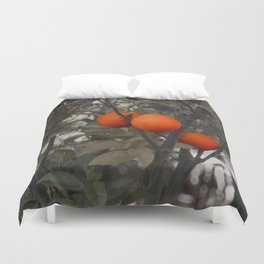 Three oranges on an orange tree Duvet Cover