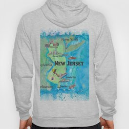 USA New Jersey State Travel Poster Map with Touristic Highlights Hoody