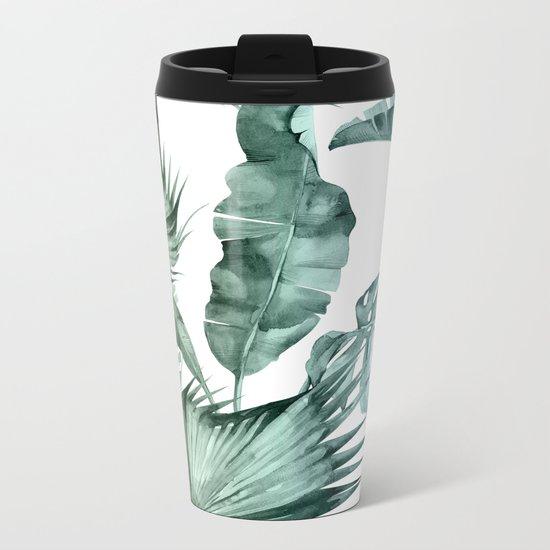 Tropical Palm Leaves Turquoise Green Blue Gradient Metal Travel Mug