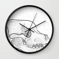 pitbull Wall Clocks featuring Pitbull Skull by Lissa Martin