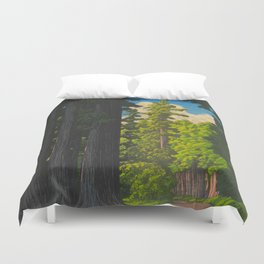 Vintage Japanese Woodblock Print Kawase Hasui Mystical Japanese forest Tall Green Trees Duvet Cover