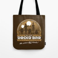 bar Tote Bags featuring Droid Bar by Doodle Dojo