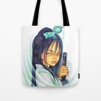 gemma correll Tote Bags featuring Samurai by Gemma Pallat by ToraSumi