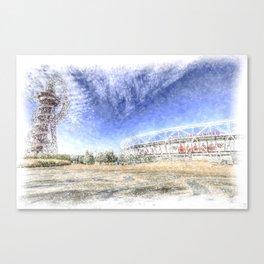 West Ham Olympic Stadium And The Arcelormittal Orbit Snow Canvas Print
