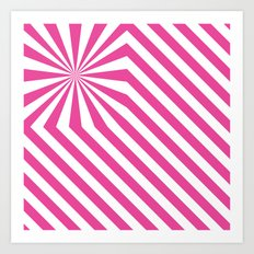 Stripes explosion - Pink Art Print