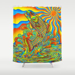 Psychedelic Rainbow Trout Fish Shower Curtain