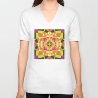 quilt V-neck T-shirts featuring Geo quilt by Little Things Studio