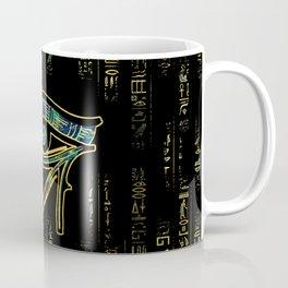 Egyptian Eye of Horus  on hieroglyphics gold and marble Coffee Mug