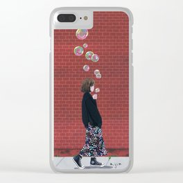 Bubble Girl Clear iPhone Case