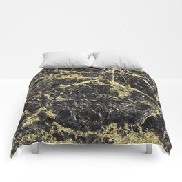 Marble - Glittery Gold Marble on Black Design Comforters