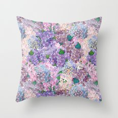 Purple and blue Lilac & Hydrangea - Flower Design Throw Pillow