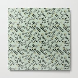 Mimosa Pattern on Light Green Metal Print
