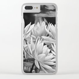 Water Lily in Black and White Clear iPhone Case