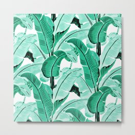 jungle leaf pattern mint Metal Print