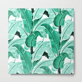 jungle leaf pattern mint Metal Print