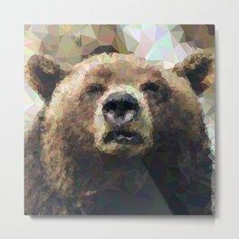 Geometric Bear Face Metal Print
