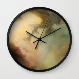 Nebula Clouds - Gold, Green, Reds - Space Wall Clock