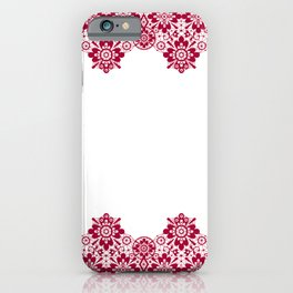 Retro .Vintage . Red lace on a white background . iPhone Case