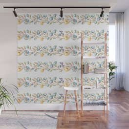 Yellow green blue hand painted modern floral stripes Wall Mural