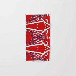 Tile #6 White-Blue Line Art on Red Hand & Bath Towel