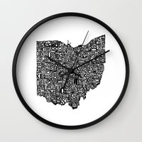ohio state Wall Clocks featuring Typographic Ohio by CAPow!
