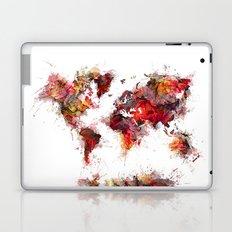 World Map red flowers Laptop & iPad Skin