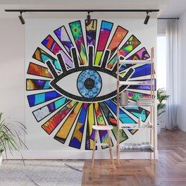 Greek Evil Eye Graffiti Sun Rays Wall Mural