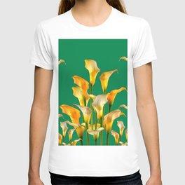 DECORATIVE GREEN ART GOLDEN CALLA LILIES T-shirt