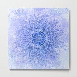 star mandala monochrome in blues Metal Print
