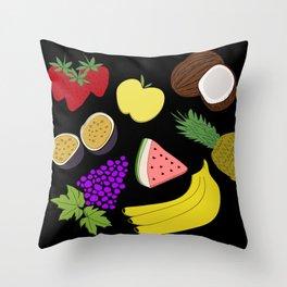 Fruit! in Black Throw Pillow