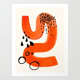 Mid Century Modern abstract Minimalist Fun Colorful Shapes Patterns Orange Brush Stroke Watercolor Art Print