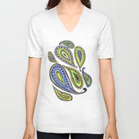 paisley V-neck T-shirts featuring Paisley by Laura Maxwell