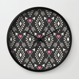 Tribal Aztec with Hearts & Arrows Wall Clock