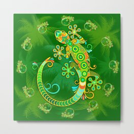 Gecko Lizard Colorful Tattoo Style Metal Print