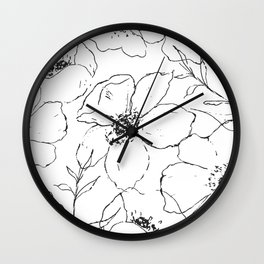 Floral Simplicity - Black & White Wall Clock