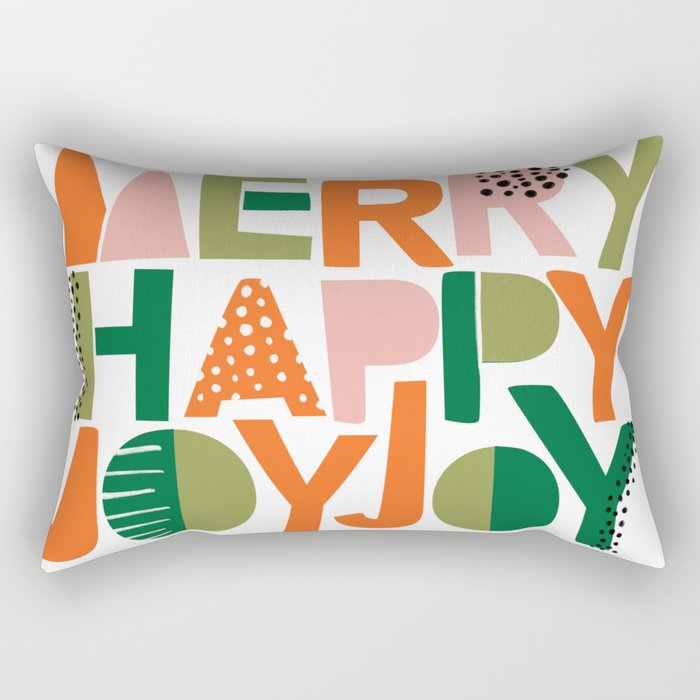Merry Happy Joy Joy Rectangular Pillow