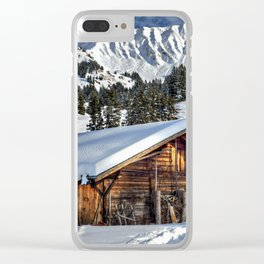 Winter Cabin Clear iPhone Case