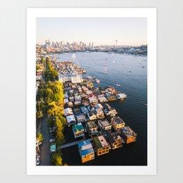 Houseboats on Lake Union Art Print