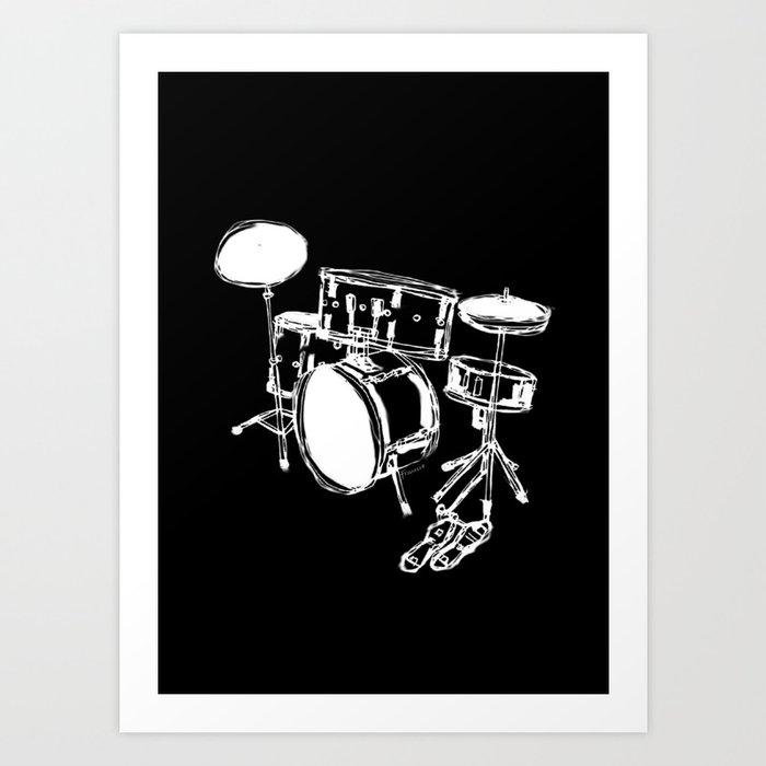 Drum Kit Rock Black White Art Print