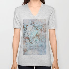 Rose Marble with Rose Gold Veins and Blue-Green Tones Unisex V-Neck