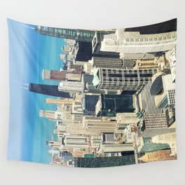 Chicago Buildings Color Photo Wall Tapestry