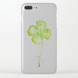 Clover Four Leaf Lucky Charm Green Clovers Clear iPhone Case