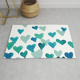 Valentine's Day Watercolor Hearts - turquoise Rug
